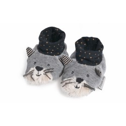 Chaussons Chat gris clair Fernand Moulin Roty