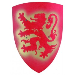 bouclier dragon en bois lion rouge